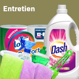 magasin entretien menager lessive detachant tablette vaisselle papier toilette