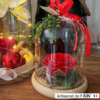 diamètre 12 cloche floral rose rouge decoration cadeau noel ephemere
