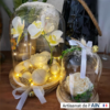 Duo cloche floral rose blanc decoration cadeau noel ephemere