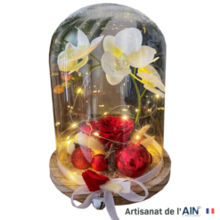 cloche floral rose rouge eternelle deco cadeau ephemere