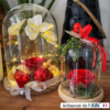 Duo cloche floral rose rouge decoration cadeau noel ephemere